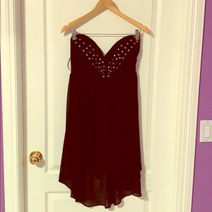 black strapless high-low dress!